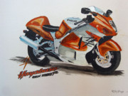 Suzuki Paintings - Suzuki Hayabusa by Richard Le Page