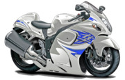Bike Race Framed Prints - Suzuki Hayabusa White-Blue Bike Framed Print by Maddmax