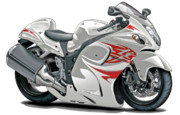 Bike Race Framed Prints - Suzuki Hayabusa White-Red Bike Framed Print by Maddmax