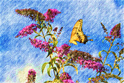 Swallowtail And Butterfly Bush Print by Heidi Smith