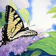 Natural Painting Originals - Swallowtail and Lilacs by Betsy Gray