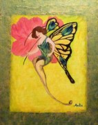 Yellow Fairy Painting Originals - Swallowtail Fairy by Anke Wheeler