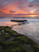 S. California Prints - Swamis Beach Sunset Print by Mike  Dawson