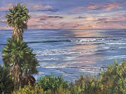 Oceanside Painting Prints - Swamis Sunset Print by Lisa Reinhardt
