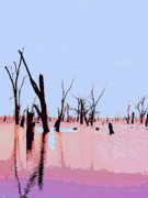Flood Mixed Media Prints - Swamp and Dead Trees Print by Dominic Piperata