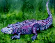 Alligator Painting Prints - Swamp gator Print by Maria Barry