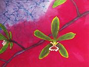 Orchids Tapestries - Textiles - Swamp Orchi Fine Art Batik by Kay Shaffer