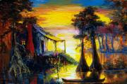 Playing Painting Originals - Swamp Sunset by Saundra Bolen Samuel