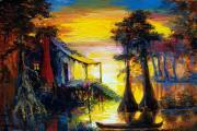 Swamp Sunset Print by Saundra Bolen Samuel