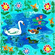 Animals Ceramics Posters - Swan and two ducks Poster by Sushila Burgess