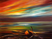 Beach Sunsets Originals - Swan at Sunset by Gina De Gorna