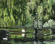 Willow Lake Prints - Swan Boats Print by Lisa Reinhardt
