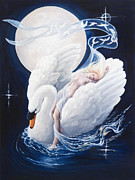 Swan Goddess Paintings - Swan Dreaming by Ann Beeching