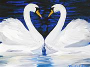 Michael Lee Metal Prints - Swan Heart Metal Print by Michael Lee