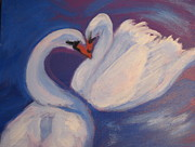Swans... Paintings - Swan Kiss by Diana Riukas