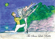 Ballet Dancers Mixed Media Prints - Swan Lake Ballet Print by Marie Loh