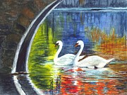 Peaceful Scenery Drawings Framed Prints - Swan Lake Framed Print by Carol Wisniewski