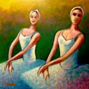 Ballet Dancers Painting Prints - Swan Lake I Print by John  Nolan
