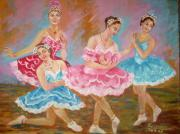 Ballet Dancers Painting Framed Prints - Swan Lake  Framed Print by Kalpana Talpade Ranadive