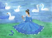 Sue Burgess Paintings - Swan Lake Reader by Sushila Burgess