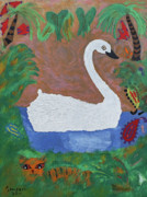 Board Mixed Media Originals - Swan Lake Side by Robyn Louisell