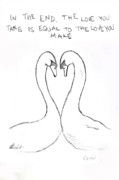 Swans... Drawings - Swan love by Rebecca Wood