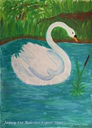 Illustrative Prints - Swan on the Lake Print by Jamey Balester