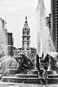 Benjamin Franklin Parkway Prints - Swann Memorial Fountain in Black and White Print by Bill Cannon