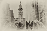 Benjamin Franklin Parkway Prints - Swann Memorial Fountain in Sepia Print by Bill Cannon
