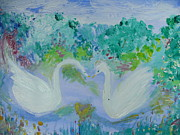 Swans... Paintings - Swans dance for two by Judith Desrosiers