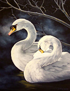 Swans... Paintings - Swans by Donna Francis