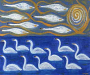 Abstraction Painting Prints - Swans Print by Patrick J Murphy