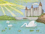 Swans... Drawings - Swans Song by Judy Cheryl Newcomb