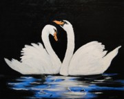 Swans... Paintings - Swans Together by Dorothy Denmon