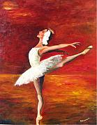 Ballet Dancers Painting Prints - Swansong Print by Maryanne  Jacobsen