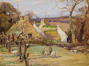 Hills Paintings - Swanston Farm by Robert Hope