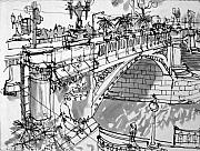 Mclean Prints - Swanston St Bridge Print by Richard Mclean