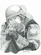 Police Drawings - S.W.A.T. at the Ready by Sharon Blanchard