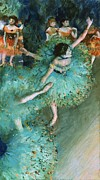 Ballet Dancers Painting Framed Prints - Swaying Dancer In Green Framed Print by Pg Reproductions