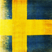 Dirty Prints - Swedish flag Print by Setsiri Silapasuwanchai