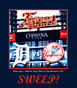 Detroit Tigers Digital Art Framed Prints - Sweep Framed Print by Michelle Calkins