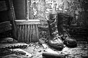 Work Boots Framed Prints - Sweeping Men  Framed Print by Jerry Cordeiro