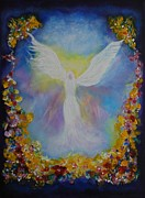 Religious Artwork Painting Originals - Sweet Angel by Leslie Allen