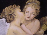 Angels Pastels Prints - Sweet Angels Print by Petra Micuda