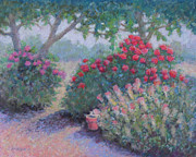 Garden Scene Pastels Originals - Sweet Breath of Roses by Julie Mayser