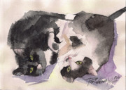 Black And White Cats Paintings - Sweet Couple by Yuliya Podlinnova