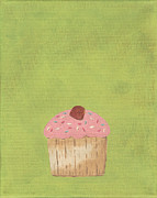 Sweets Painting Acrylic Prints - Sweet Cupcakey Dreams Nursery Art Acrylic Print by Katie Carlsruh