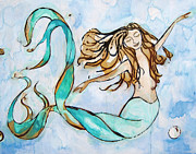 Surf Art Mixed Media Posters - Sweet Dreams - Mermaid Poster by Tamara Kapan