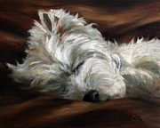 Westie Puppies Posters - Sweet Dreams Poster by Mary Sparrow Smith