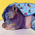 Potbelly Pig Paintings - Sweet Dreams  by Pat Saunders-White